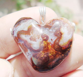 Large Agate Pendant crazy lace on fire agate, a rare and beautiful piece