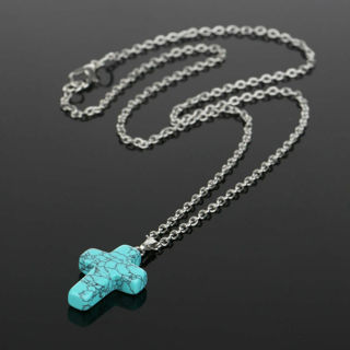✿Fast Delivery✿ 925 Sterling Silver Stone Crystal Cross Necklace x1pc
