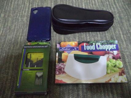 4 PIECE BOX LOT OF RANDOM STUFF SHAVER TRAVEL CASE CELL PHONE SKIN SCREWDRIVER SET & FOOD CHOPPER
