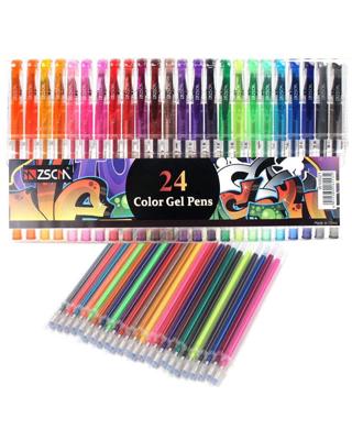 Glitter Gel Pens ZSCM 48 Pack Colored Gel Pens Set Include 24 Colors Gel Marker Pen, 24 Refills,