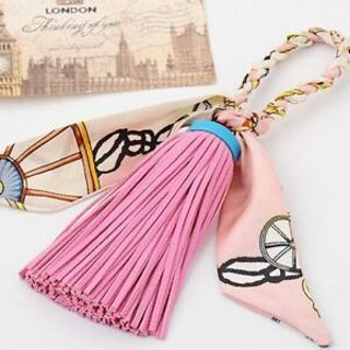 Fashion Bag Satin Silk Tassel Key Chain PU Leather Keychain Key Ring