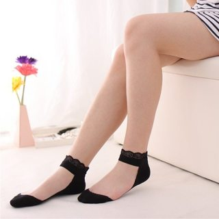 Lovely Women Girls Lace Ruffle Mesh Socks Princess Transparent Short Cotton Sock Fashion Black/White
