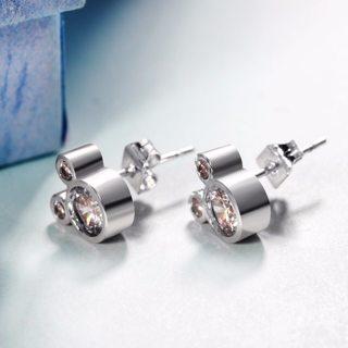 Mickey Stud Earring For Women Girls AAA Zircon Crystal Wedding Bridal Fashion Rose Gold Silve