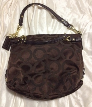 Free  Authentic Coach Purse Brown With purple Lining And Gold Trim ... 75375254394f2