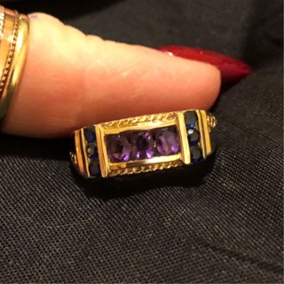 10k Yellow Gold Amethyst and Sapphire Ring