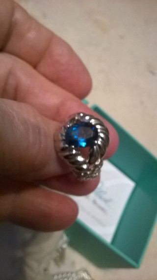 Carolyn Pollack Sterling Silver Blue Topaz Ring Size 7