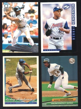 Rickey Henderson 4 different Cards - All Listed - Angels Athletics Mariners Blue Jays