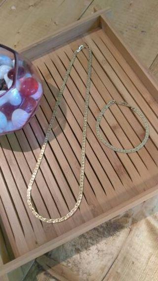 Gold Tone Necklace Bracelet Set