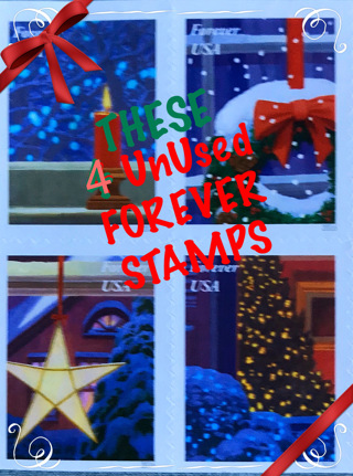 ✿ 4 ✿ UNUSED ✿Christmas✿FOREVER✿Stamps