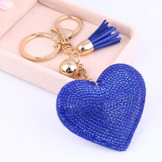 Heart Keychain Leather Tassel Gold Key Holder Metal Crystal Key Chain