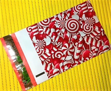 "7 HOLIDAY CANDY CANES 10"" x 13"" Poly Mailers"
