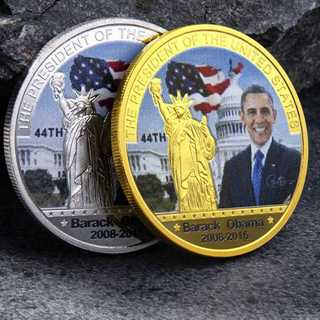 US American 44th President Barack Obama Silver / Gold Plated Eagle Commemorative Coin