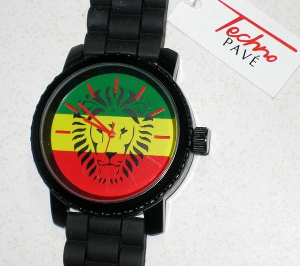 Free Techno Pave Quartz Reggae Jamaica Lion Wrist Watch Watches