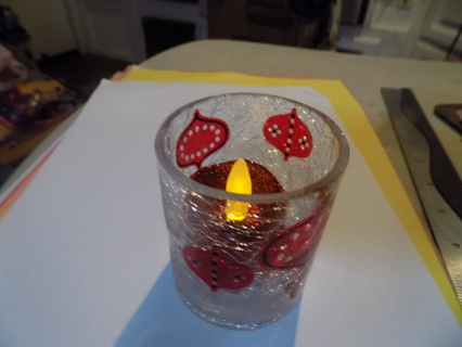 Look of cracked glass candle holder red ornaments painted