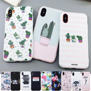 Candy Color Leaf Print Phone Case for iPhone X 6 6s 7 8 Plus XR XS Max Cactus Plants Fashion Soft