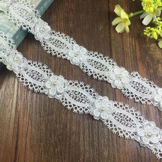 3YDs Embroidered Pearl Lace Edge Trim Ribbon Applique Wedding Bridal Decor