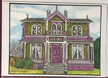 """OLIVE AND MAUVE HOUSE - 5 x 7"""" art card by artist Nina Struthers - GIN ONLY"""