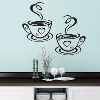 Double Coffee Cups Wall Stickers Beautiful Design tea Cups Room Decoration Vinyl Art Wall Decals A
