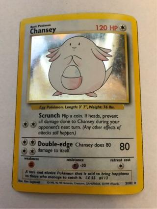 Pokemon Card Chansey Holo Rare Base Set 3/102