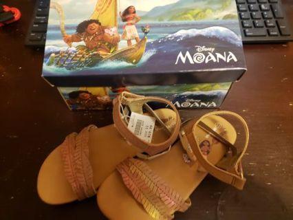 Brand new in box Moana Disney sandals never worn size 11 little kids
