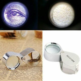 30X Glass Magnifying Magnifier Jeweler Eye Jewelry Loupe Loop New