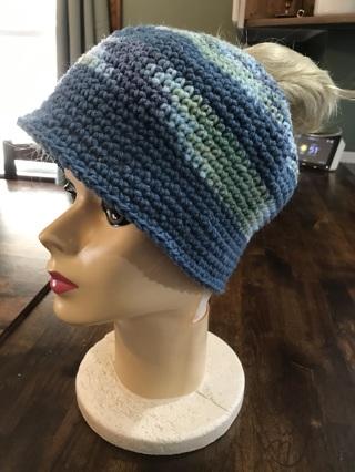 Handmade Crocheted Messy Bun Ponytail Hat