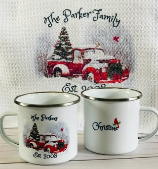Personalized Holiday Red Christmas Truck 3 pc Set Dish Cloth Camp Style His Hers Mugs