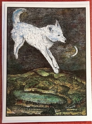 "HEAVENLY HUSKY - 5 x 7"" art card by artist Nina Struthers - GIN ONLY"