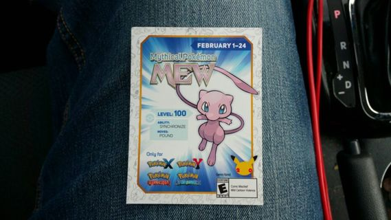 Free: Mew code for pokemon x/y and alpha sapphire and omega