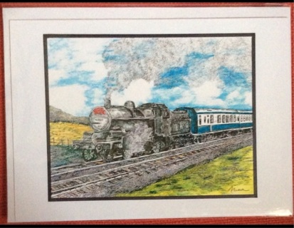 "VINTAGE STEAM ENGINE - 5 x 7"" art card by artist Nina Struthers - GIN ONLY"