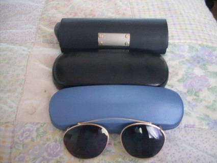 3 New Eyeglass Cases + A Clip On Pair of Sunglasses