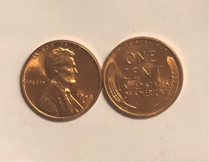 2 1958 D Wheat Penny Brilliant Uncirculated