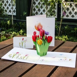 3D Pop Up Tulips Flowers Greeting Card Christmas Birthday New Year Invitation