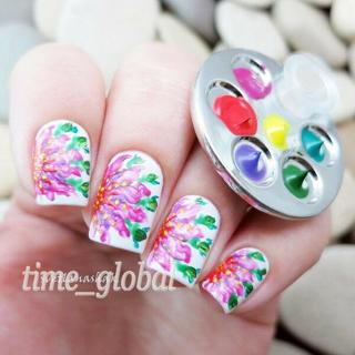 1pc Mini Finger Nail Art Palette For Free Hand Manicure Ring Palette Nail Tools
