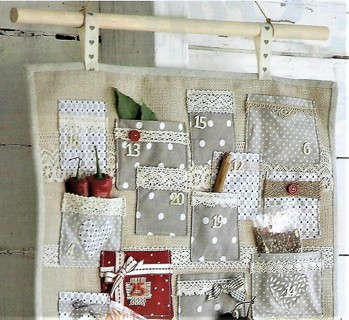 """BRAND NEW SEWING PATTERN~""""LACE POCKET ADVENT CALENDAR~FREE SHIP"""