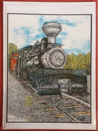 """SPIRIT OF TEXAS LOCOMOTIVE/ 5 x 7"""" art card by artist Nina Struthers - GIN ONLY"""