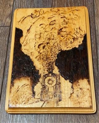 """Train"" wood Burned Pyrography"