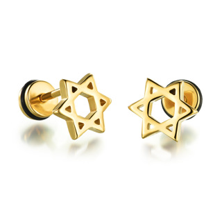 Fashion Men Women Unisex Titanium Steel Plating Stainless Steel GOLDEN Hollow Hexagram Earrings