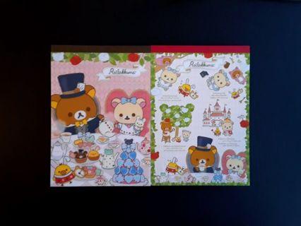 "SanX '2018'~""Rilakkuma in Wonderland"" Lot~ 2 LG Memo Pads, 4 Letter Sets, 32 Mini's ☆Kawaii Bonuses☆"