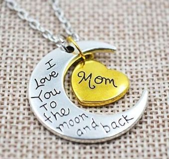 """Gold/Silver Family """"I LOVE YOU TO THE MOON AND BACK """"Necklace Charm Pendant"""
