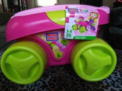 Mega Bloks First Builders Play'n Go Wagon! * LE Pink! * BNW/Tags * THINK CHRISTMAS * FREE SHIPPING