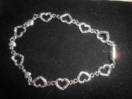 "New! Romantic Tibetan silver heart bracelet, 8 1/2"""