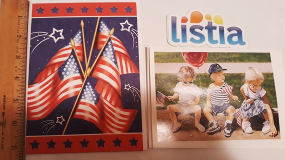 2 Patriotic Cards, blank inside, includes envelopes