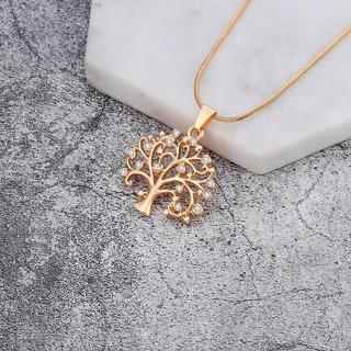 2018 Tree Of Life Necklace for Women Clear Crystal Gold Color Choker Small Tree Pendant Necklace F