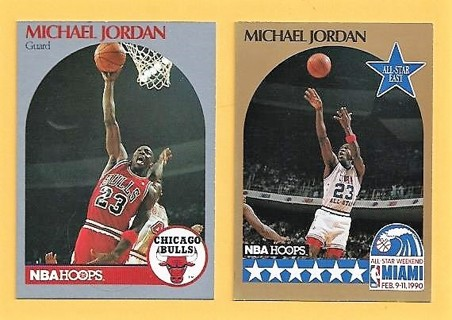 (2) MICHAEL JORDAN cards 1990-91Hoops Basketball Card #65 & # 5 NR/Mt Bulls