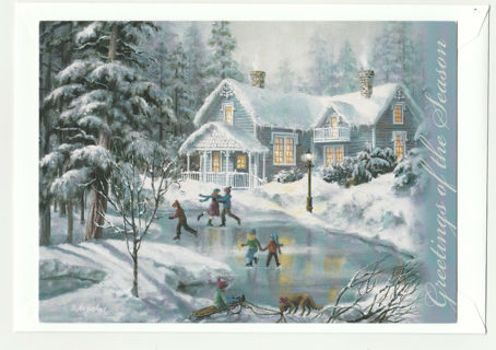 Christmas Card Unused With Envelope Winter Scene