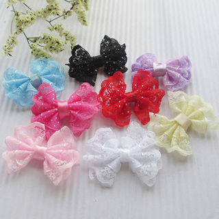32PCS Ribbon Trim Bows Flowers W/ Rhinestone Appliques Wedding