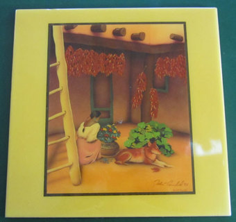 SIGNED TILE OF MEXICAN SCENE by ROBERT ARNOLD 1995 FAMOUS WELL KNOWN SOUTHWEST ARTIST FOR ANY DECOR!