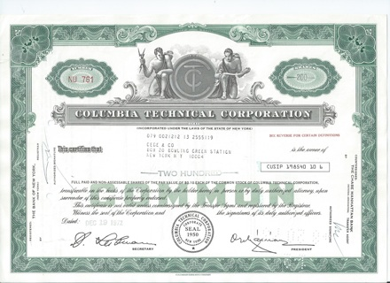 Columbia Technical stock certificate 1972 green border 200 shares