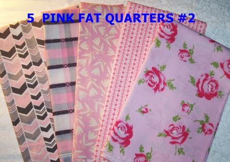 5 VARIOUS PINK FAT QUARTERS #2